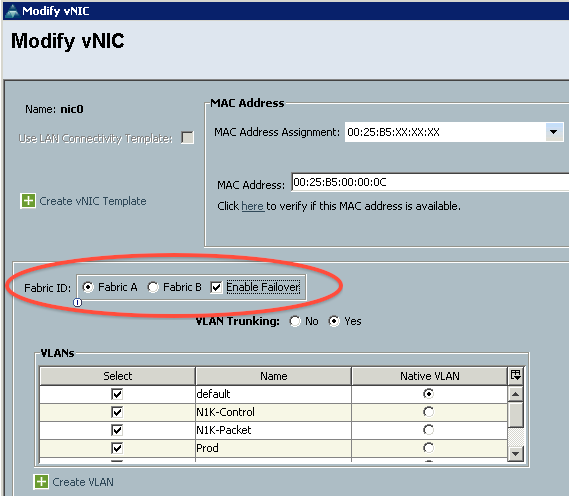 Figure 2 - Selecting the fabric for a vNIC with failover